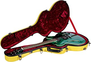 Crossrock 335 style guitar case, fiberglass hard shell with backpack, Yellow (CRF1000SAYL)