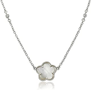 Little Miss Twin Stars Classic! Mother of Pearl Flower On Diamond by The Yard Chain Necklace /