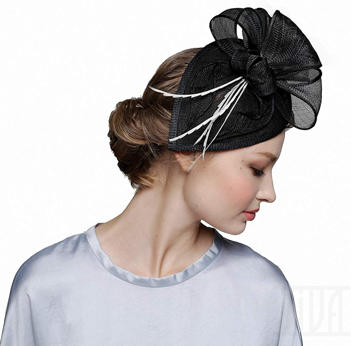 Black Fascinator Hat for Women Regular Recommended store Tea Wedding Church Derby Party Co