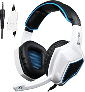 Latest Version Ps4 Headphones,Sades SA920 3.5mm Stereo Bass Gaming Headset with Microphone for New Xbox one PS4 PC Laptop Mac Xbox 360(Black White)