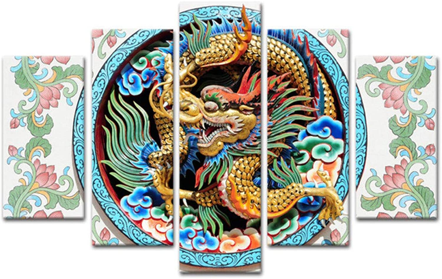 fc1c7b0e50 Loiazh Printed On Non Woven Canvas Wall Art Print Picture Photo 5 Pieces  Frameless Dragon Painting 55x22 45x20x2 35x20x2(cm) Image nvxles3333-new  toys