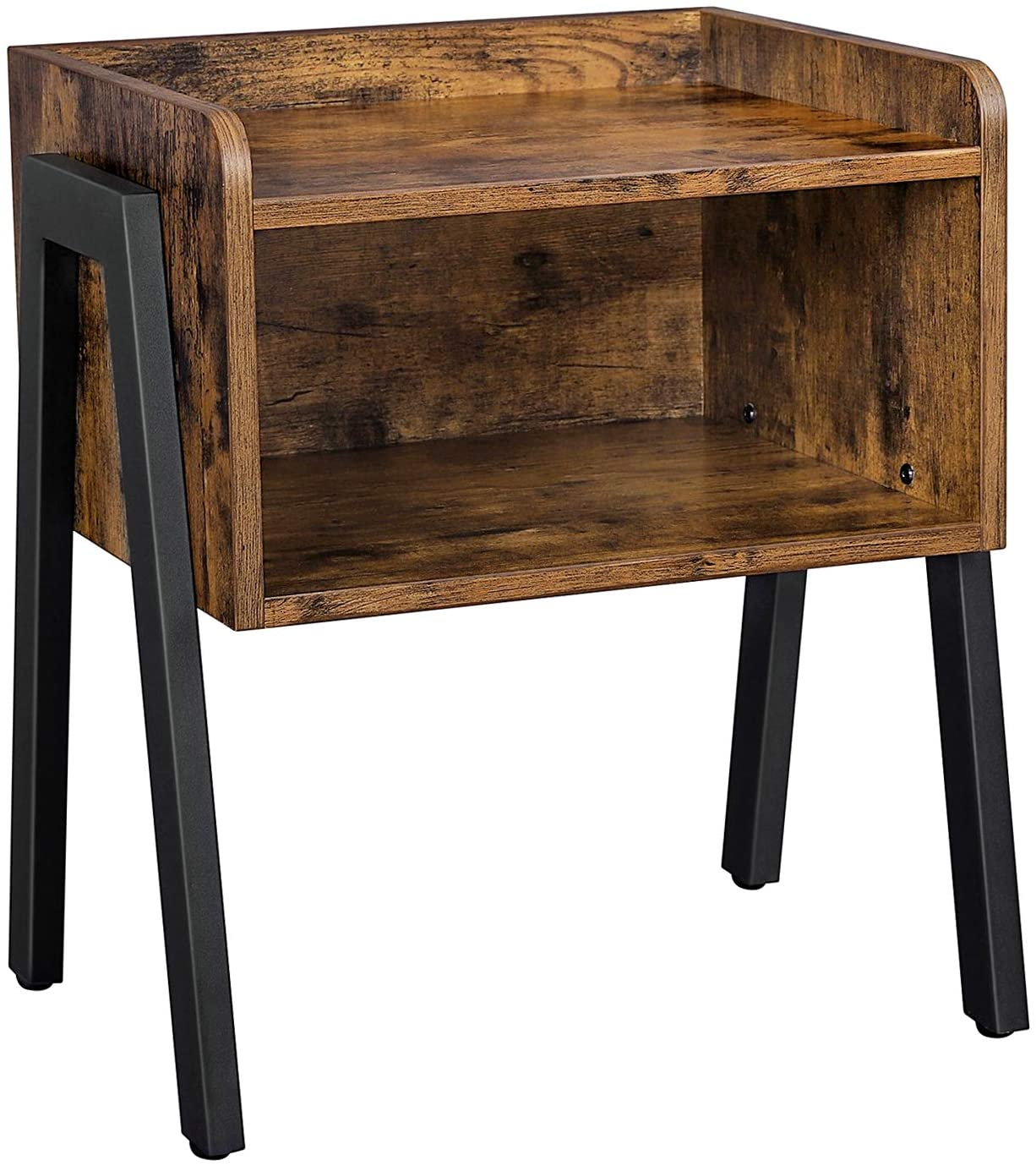 Vasagle Side Table Nightstand Stackable End Table With Open Storage Compartment Retro Rustic Chic Industrial Accent Furniture With Steel Legs Rustic Brown And Black Let54x Amazon Co Uk Home Kitchen