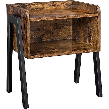 VASAGLE Table d'appoint, Table de Chevet, Table de Nuit, empilable, avec Compartiment de Rangement Ouvert, Pieds en Acier, Style Industriel, Marron Rustique et Noir LET54X