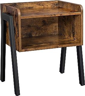 comprar comparacion VASAGLE Mesita de Noche Vintage, Mesa Auxiliar apilable, Mesa para café con Compartimento Delantero Abierto, Aspecto de Ma...