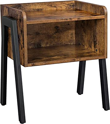 VASAGLE ALINRU Nightstand, Stackable End Table, Side Table for Small Spaces, Storage Compartment, Industrial Accent Furniture, Steel Frame, Rustic Brown and Black ULET54X