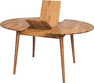 NordicStory Escandi 4 Table de salle à manger nordique extensible ronde 120 – 155 cm, bois massif chêne, idéale pour cuisi...