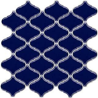 Vamos Tile Blue Arabesque Peel and Stick Tile Backsplash,3D Self Adhesive Wall Tiles for Kitchen & Bathroom-10 x 10