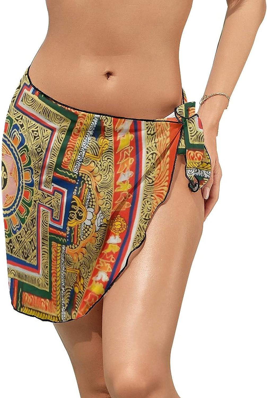 JINJUELS Women Beach Wrap Skirts Orange Mandala Puzzle Personalized Bikini Swimwear Beach Cover Up