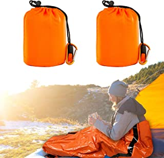 Emergency Sleeping Bag With Hood | Ultralight, Waterproof, Thermal Mylar Sleeping Bag Liner | Survival Bivy Space Blanket ...
