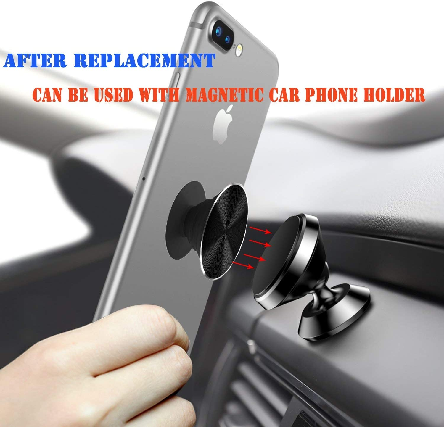 6pack Swappable Metal Covers Top for Pop Phone Grip /& Stand for Get a Different Design On Your Expanding Phone Grip Can be Used with Magnetic Car Mount