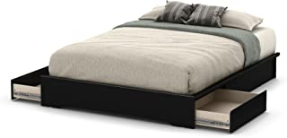 South Shore 60'' Basic Platform Bed with 2 Drawers, Queen, Pure Black