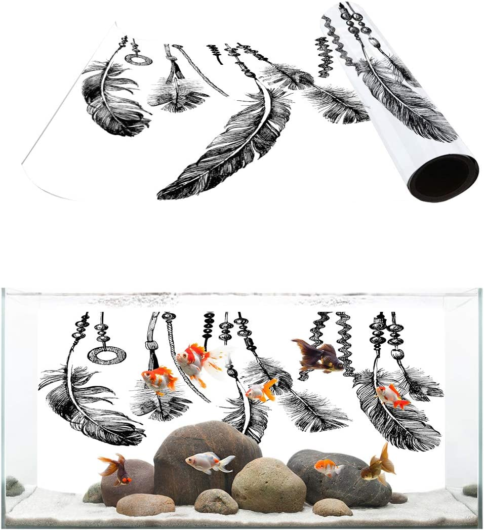 TH XHome Aquarium Denver Mall Décor Backgrounds Feather 40% OFF Cheap Sale White Pat and Black