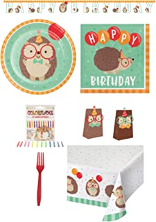 Happy Birthday Hedgehog Disposable Paper Party Supplies 16 Dinner Plates, 16 Lunch Napkins, Table Cover, Banner, 16 Treat Bags, 24 Forks, 12 ColorFlame Candles, Recipe