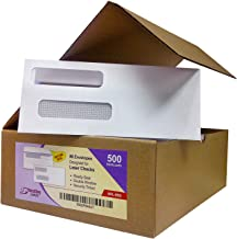 Box of 500 Number 8 Envelopes, Size fits QuickBooks Printed Checks, Double Window Security Check Envelope, Flip and Seal, Measures 3-5/8 inch x 8-11/16 inches