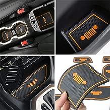 TOPPOWER Door Mats Gate Slot Mat Cup Pads Orange 16PCS for Jeep Renegade 2015/2016/2017