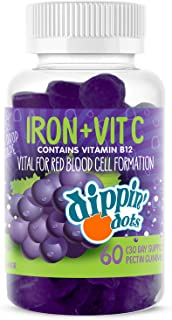Dippin' Dots - Iron with Vitamin C & B12 Gummies (60 Count) Vital for Red Blood Cell Formation | Gum Drop Grape Real Pecti...