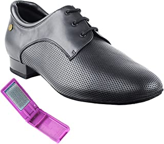 Very Fine Ballroom Latin Tango Salsa Dance Shoes for Men CD9426DB 1 Inch Heel + Foldable Brush Bundle