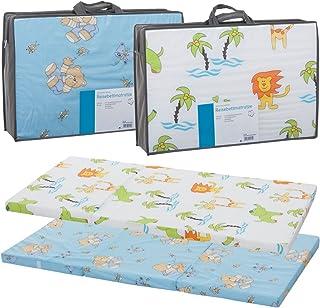 Reisebettmatratze TRAVEL 120x60cm Tragetasche für Baby Reisebett / Kinder Bett Zirkusbär Blau
