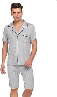 Ekouaer Mens Pajamas Set Cotton Sleepwear Button-Down PJ Sets Mens Leisure Household Life