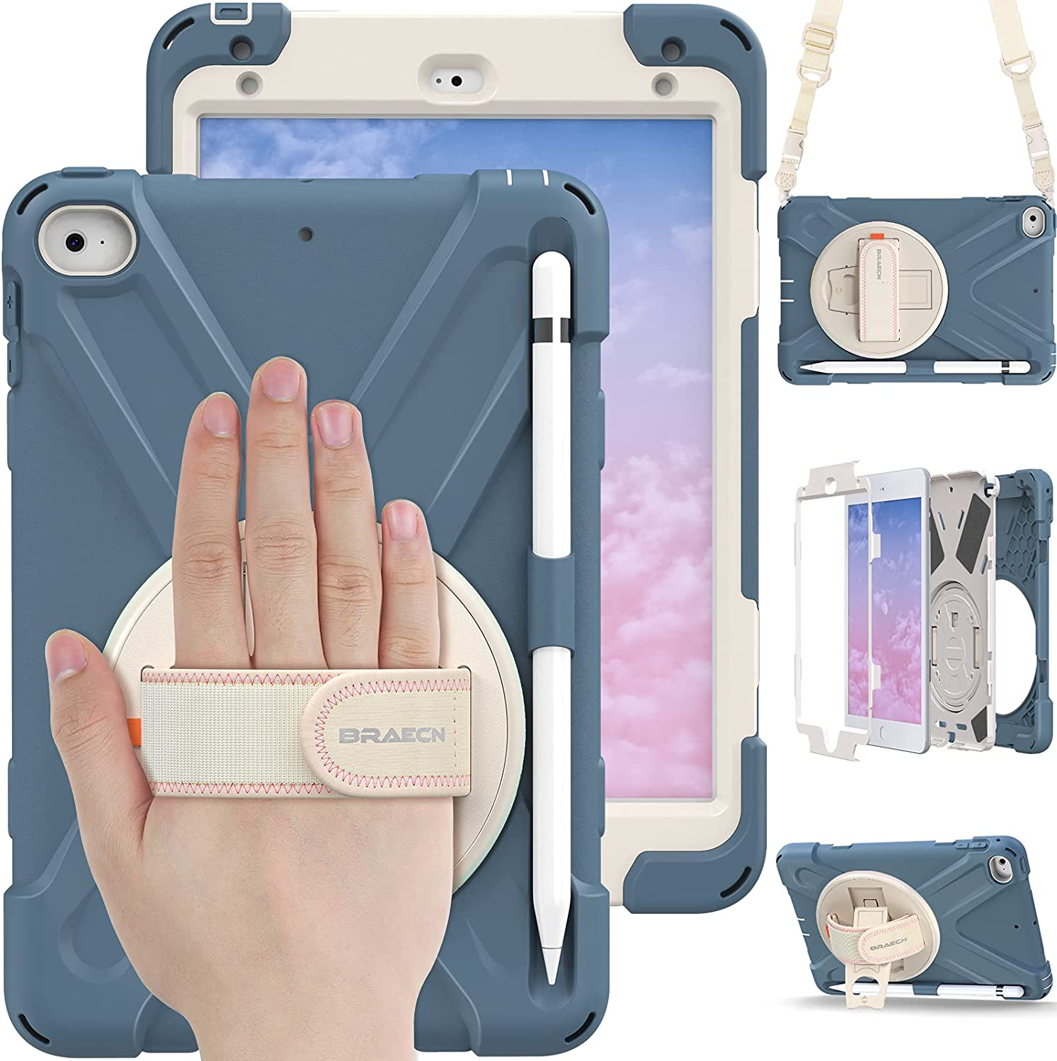 BRAECN iPad Mini 5 Case for Kids, iPad Mini 4 Cases, Heavy Duty Shockproof Protective Case with Hand Strap, Carrying Strap, Kickstand, Pencil Holder for iPad 5th /4th Mini Generation - Cornflower Blue