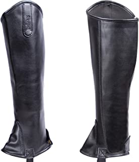 Skepsi Half Chaps Equestrian, Black Leatherette with Low Maintenance and Easy Care, Perfect for Horseback Riding, for Men and Women, Durable Synthetic Leather(Unisex Halfchaps)