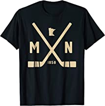 Vintage Minnesota Hockey Sticks Est 1858 State Outline Shirt