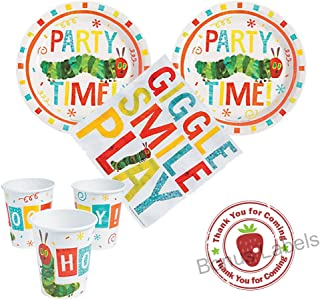 The Very Hungry Caterpillar Party supplies 16 guests, cake plates, napkins, cups, bonus labels