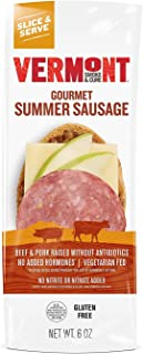 Vermont Smoke & Cure - Summer Sausage - Antibiotic Free and Gluten Free - Great on Charcuterie Boards With Cheese - 6oz