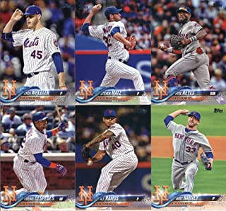 2018 Topps Complete (Series 1, 2, Update) New York Mets Team Set of 34 Cards in a 4-Pocket Notebook: Dominic Smith(#6), Amed Rosario(#63), Michael Conforto(#88), Travis d'Arnaud(#91), A.J. Ramos(#123), Yoenis Cespedes(#125), Matt Harvey(#188), Steven Matz(#221), Zack Wheeler(#228), Wilmer Flores(#344), Jose Reyes(#345), T.J. Rivera(#405), Robert Gsellman(#460), Tomas Nido(#486), Phillip Evans(#517), Jason Vargas(#530), Jacob deGrom(#555), plus more