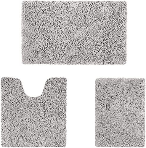 HOMEIDEAS 3 Pieces Bathroom Rug Set, Ultra Soft Non Slip Bath Rug and Absorbent Chenille Bath Mat, Light Grey Bathroo...