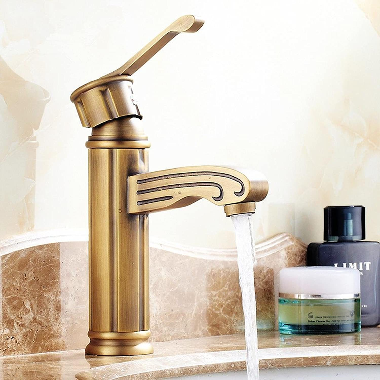 Wmshpeds Antique basin faucet counter basin single hole copper hot and cold faucet European bathroom cabinet mixer
