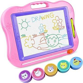 お絵かきボード WELCOOL お絵描き おもちゃ 44*33.5*3CM 大きいサイズ 4色 磁石 マグネットスタンプ付属 ペン付き (ピンク)