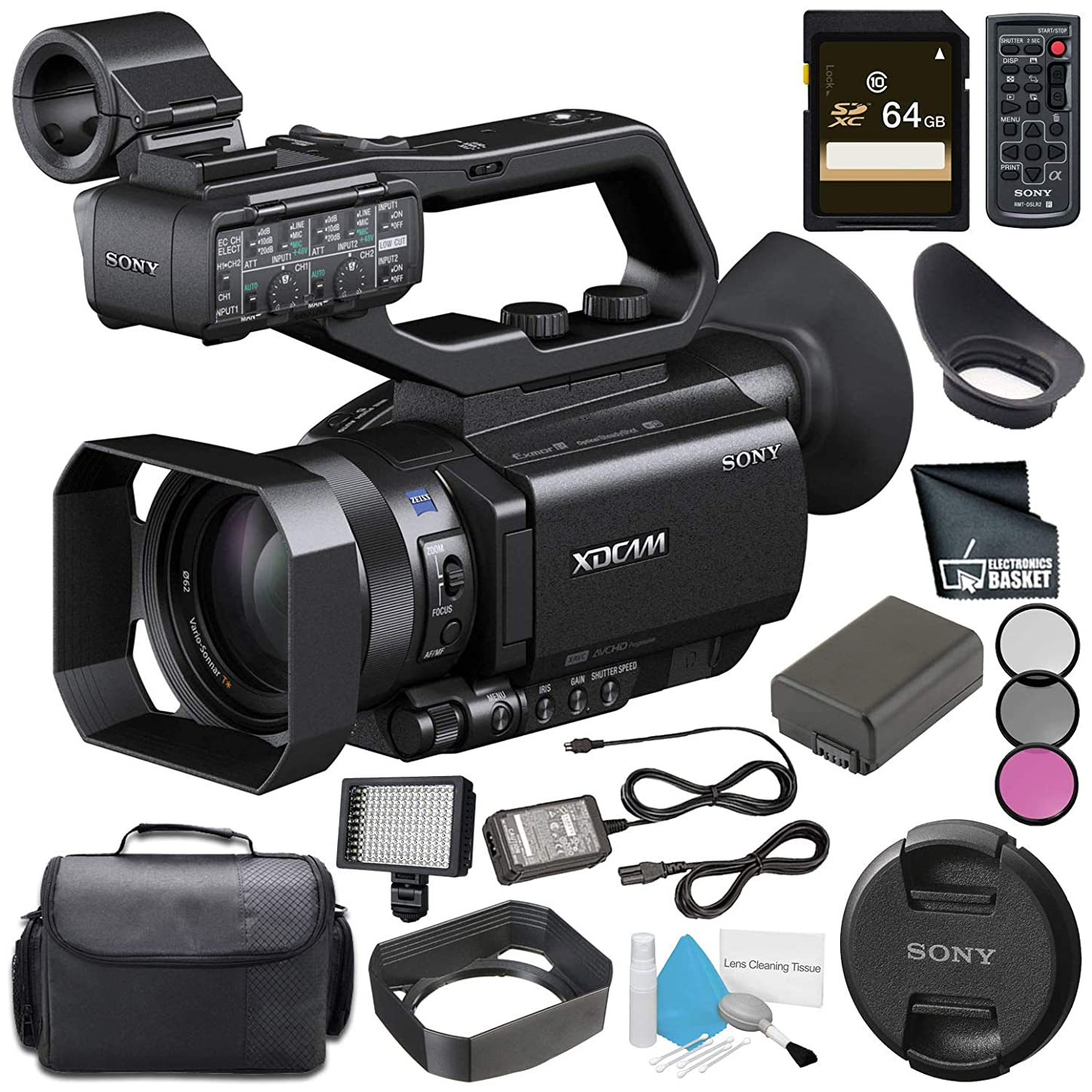 Sony PXW-X70 Professional XDCAM Compact Camcorder with 4K Upgrade License + NP-FV70 Replacement Lithium Ion Battery + 64GB SDXC Card + Professional 160 LED Video Light Studio Series Bundle yzwrafb767030