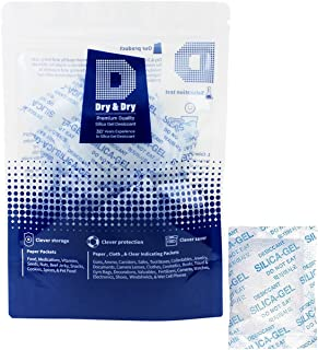 Dry & Dry 5 Gram [55 Packets] Premium Pure & Safe Silica Gel Packets Desiccant Dehumidifiers - Rechargeable Fabric Silica Packets for Moisture