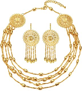 FOCALOOK Indian Jewelry for Women, Dubai 18K Gold Plated African Nigerian Beads Wedding Party Costume Show Choker Necklace Earrings Set Box