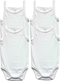 Baby Girls 100% Cotton Super Soft Camisole Onesies 4-Pack