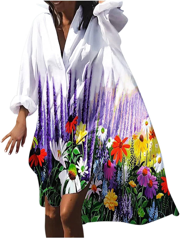 HNCS Fall Dress for Women,Women's Plus Size Beach Dress V-Neck Boho Dress Long Sleeve Sundress T-Shirt Dress