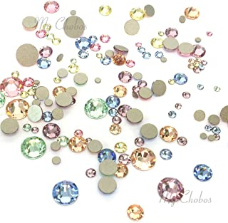 BABY Colors mixed with Swarovski 2058 Xilion / 2088 Xirius Rose flatbacks sizes ss5, ss7, ss9, ss12, ss16, ss20, ss30 No-Hotfix rhinestones nail art 144 pcs (1 gross) *FREE Shipping from Mychobos (Crystal-Wholesale)*