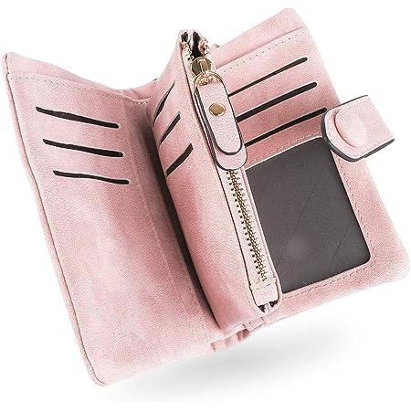 Conisy Geldbörse Damen Kurzer RFID Schutz Geldbeutel Leder Für Frauen - Weich Bequem Süß Portemonnaie mit Viel Kartenfächer (Rosa)