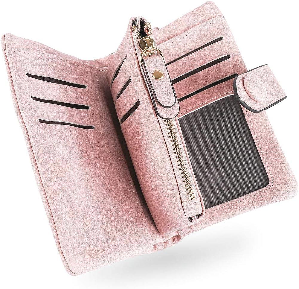 Conisy, portafoglio da donna, porta carte di credito, in pelle morbida sintetica, protezione rfid WS-S01