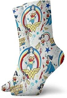 LREFON, Calcetines de compresión Won-Der Wo-Man Socks Crew Divertido Casual Unisex Impresión Tobillo Deporte Calcetín