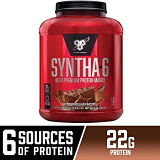 BSN SYNTHA-6 Whey Protein Powder, Micellar Casein, Milk Protein Isolate Powder, Chocolate Cake Batter, 48 Servings (Package May Vary)