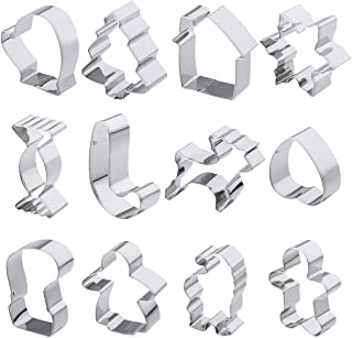 12pcs Christmas Cookie Cutters Set Cake Biscuit Moulds Stainless Steel Including Gingerbread Man, Tree and Snowflake