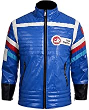 Mens My Chemical Romance MCR Party Poison Costume Biker Style Blue Leather Jacket