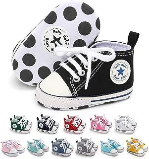 Best Tutoo Unisex Baby Boys Girls Star High Top Sneaker Soft Anti-Slip Sole Newborn Infant First Walkers Canvas Denim Shoes Reviews