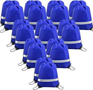 20 Pieces Blue-Drawstring-Backpack-Bags Bulk Reflective Cheap Gym Sack Pack Sports Cinch Bag