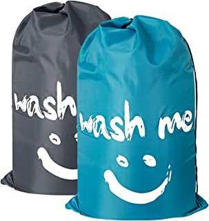 ZERO JET LAG 2 Pack Extra Large Travel Laundry Bag Set Nylon Rip-Stop Dirty Clothes Bag Machine Washable with Drawstring Closure Hamper Liner Heavy Duty College Essentials (Blue and Gray)