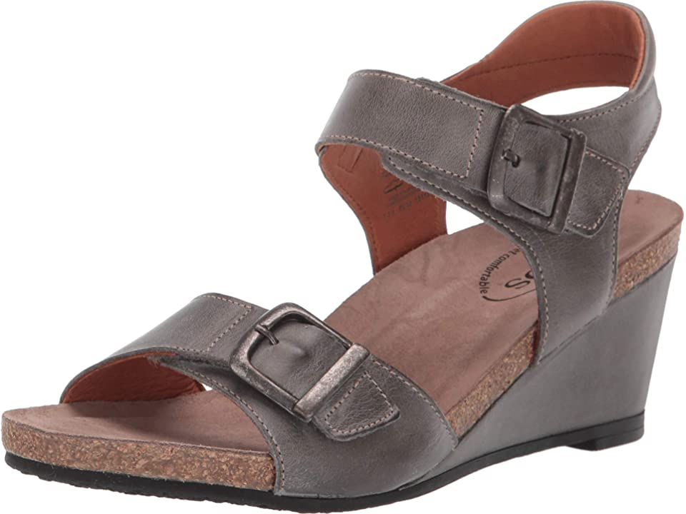 Taos Footwear Buckle Up (Graphite) Women's Wedge Shoes, Gray