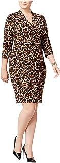 Anne Klein womens PLUS SIZE ANIMAL PRINT WRAP DRESS Dress