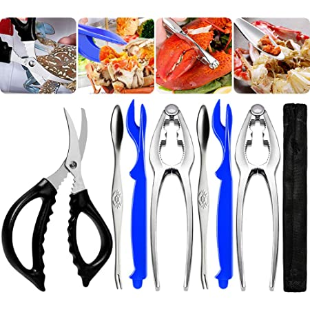 9Pcs Seafood Tools Set Crab Lobster Crackers Stainless Steel Forks Opener Shellf